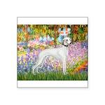 Whippet in Monet's Garden Square Sticker 3