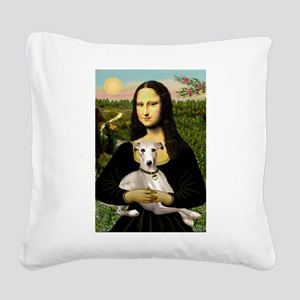 Mona & Whippet Square Canvas Pillow
