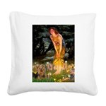 Midsummer / Yorkie Square Canvas Pillow