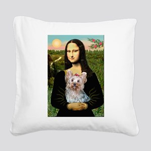 Mona & her Yorkie (T) Square Canvas Pillow