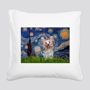 Starry Night Yorkie (T) Square Canvas Pillow