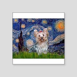 "Starry Night Yorkie (T) Square Sticker 3"" x 3"""