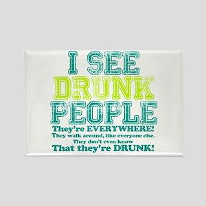 I See Drunk People Rectangle Magnet