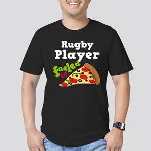 Rugby Player Funny Pizza Men's Fitted T-Shirt (dar