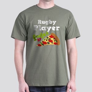 Rugby Player Funny Pizza Dark T-Shirt