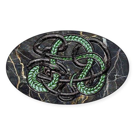 Harvest Moons Celtic Serpent Sticker (Oval)