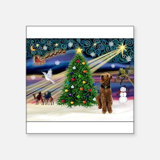 """Xmas Magic & Airedale (#1) Square Sticker 3"""" x 3"""""""