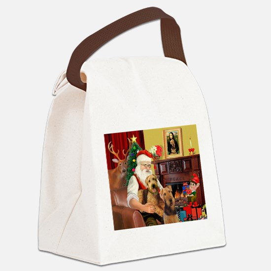 Santa's Two Airedales Canvas Lunch Bag