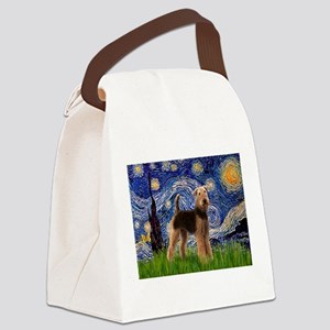 5.5x7.5-Starry-Airedale1 Canvas Lunch Bag