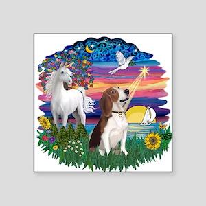 "Magical Night - Beagle 2 Square Sticker 3"" x 3"