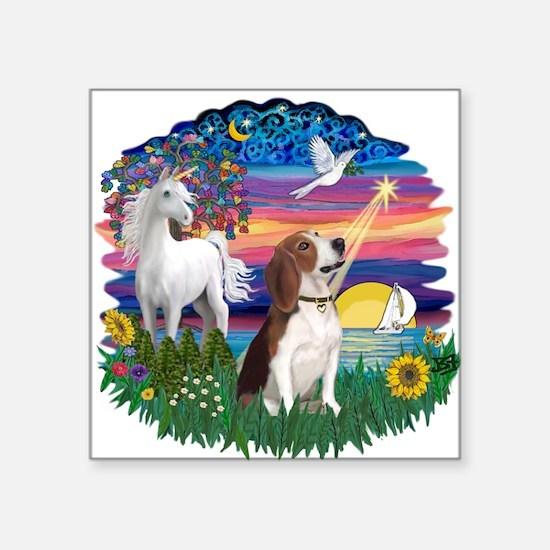 "Magical Night - Beagle 2.png Square Sticker 3"" x 3"