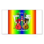 SquarePinkBlueRainbow Sticker (Rectangle 50 pk)
