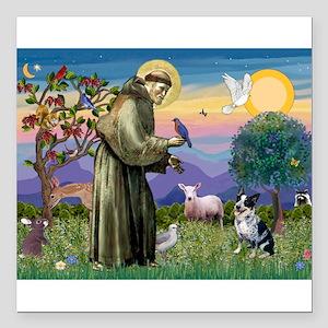 St Francis/Aussie Cat Dog Square Car Magnet 3&quot