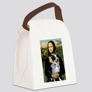 Mona Lisa/Cattle Dog Canvas Lunch Bag