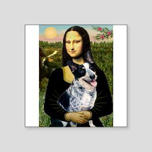 "Mona Lisa/Cattle Dog Square Sticker 3"" x 3"""