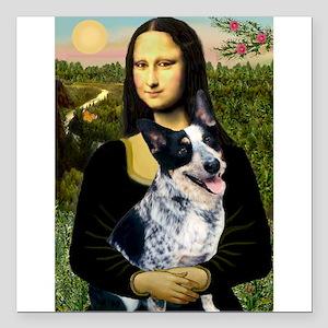 "Mona Lisa/Cattle Dog Square Car Magnet 3"" x 3"""