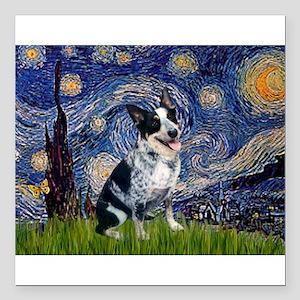 Starry Night/ Australian Catt Square Car Magnet 3&
