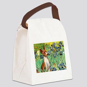 TILE-Irises-Basenji Canvas Lunch Bag