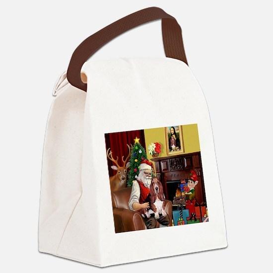 Santa's Basset Hound Canvas Lunch Bag