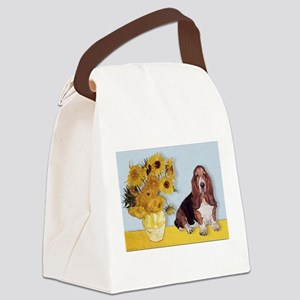 card-Sunflwrs-Basset1 Canvas Lunch Bag