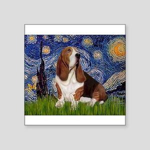 "Starry Night Basset Square Sticker 3"" x 3"""
