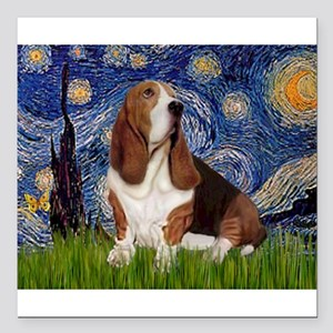 "Starry Night Basset Square Car Magnet 3"" x 3"""