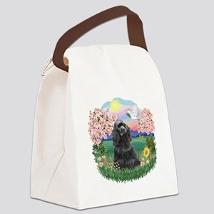 Blossoms-BlackCocker Canvas Lunch Bag