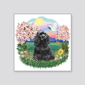 "Blossoms-BlackCocker Square Sticker 3"" x 3"""