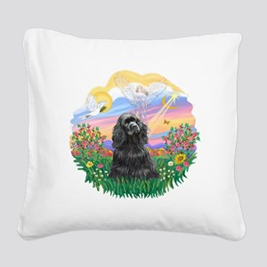 Guardian-Black Cocker Square Canvas Pillow