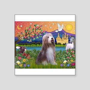 "Fantasy Land / Bearded Collie Square Sticker 3"" x"