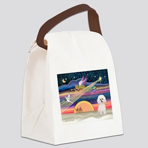 Xmas Star & Bichon Canvas Lunch Bag