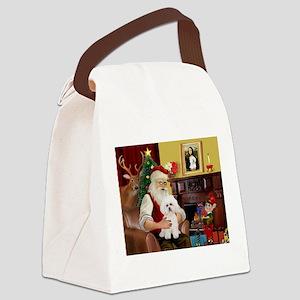 Santa's Bichon Frise Canvas Lunch Bag