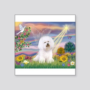 "Cloud Angel & Bichon Square Sticker 3"" x 3"""