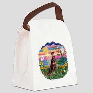 AutumnSun-Red Doberman Canvas Lunch Bag