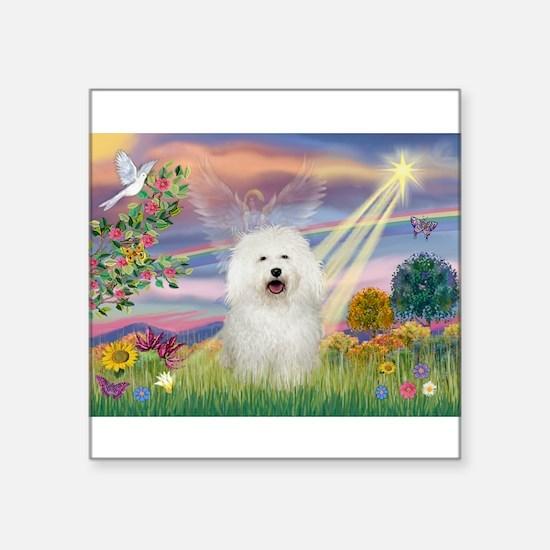 "Cloud Angel/Bolognese Square Sticker 3"" x 3"""