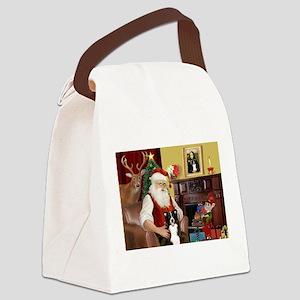 Santa's Border Collie Canvas Lunch Bag