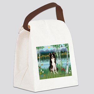 Birches / Border Collie Canvas Lunch Bag