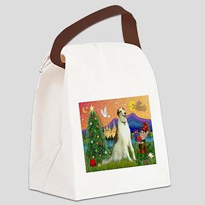 Xmas Fantasy/Borzoi Canvas Lunch Bag