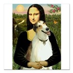 Mona & her Borzoi Square Car Magnet 3