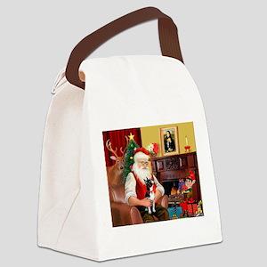 Santa's Boston Terrier Canvas Lunch Bag