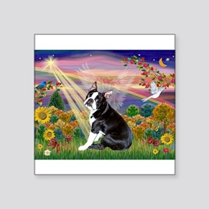 "Boston Terrier and Autumn Angel Square Sticker 3"""