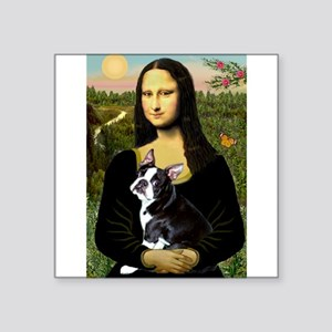 "Boston Terrier - Mona Lisa Square Sticker 3"" x 3"""