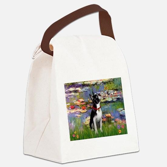 Boston Terrier 2 - Lilies #2 Canvas Lunch Bag