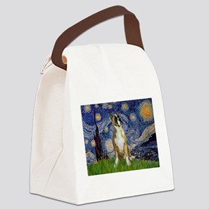 5.5x7.5-StarryNight-Boxer1up Canvas Lunch Bag