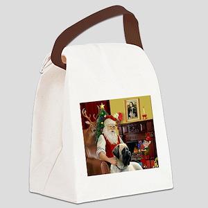 Santa's Bull Mastiff #4 Canvas Lunch Bag
