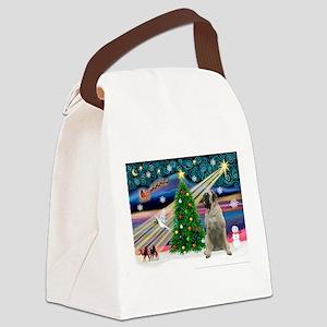 Xmas Magic/Bull Mastiff Canvas Lunch Bag