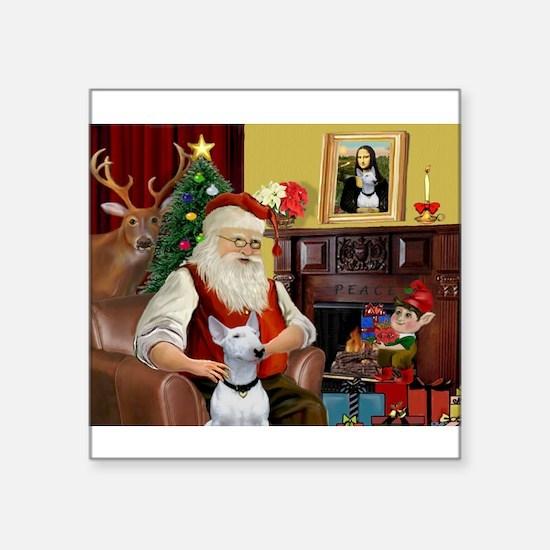 "Santa's Bull Terrier Square Sticker 3"" x 3"""