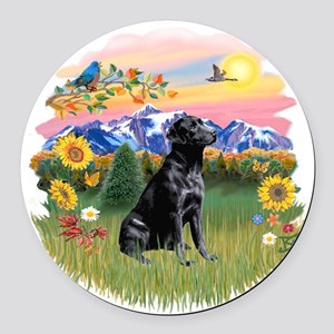 Mt Country - Black Lab Round Car Magnet