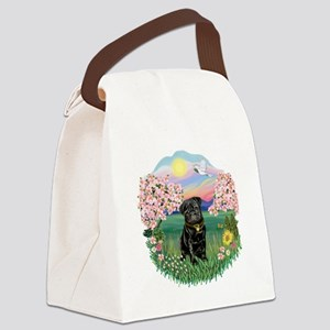 Blossoms- Black Pug 13 Canvas Lunch Bag