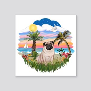 "Palms - Fawn Pug 17 Square Sticker 3"" x 3"""